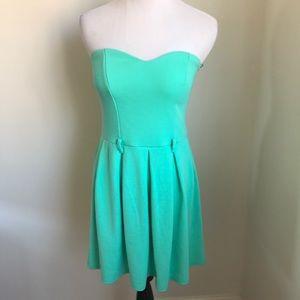 ASOS Mint Green Strapless Knit Skater Dress